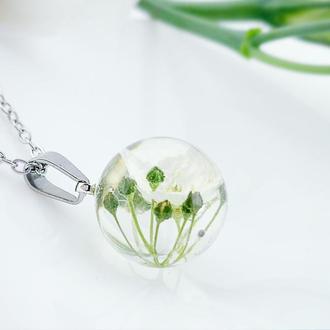 Кулон с белым цветком Украшения из цветов. (модель № 2612) Glassy Flowers