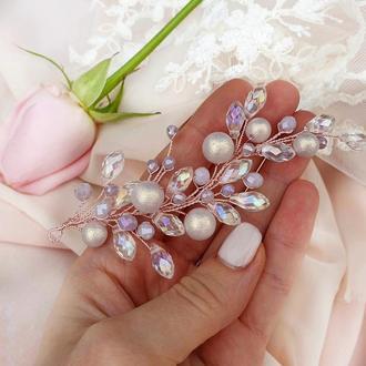 Свадебное украшение для волос, лавандовая заколка, веточка в прическу, украшение у волосы