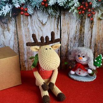 Рождественский олень. Лось Тильда. Подарок на Рождество и Новый год. Интерьерная игрушка.