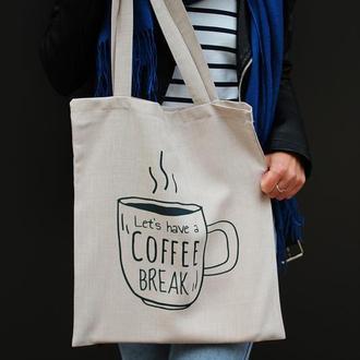 Шоппер кофе, экосумка кофе киев, корпоративні подарунки, екосумка київ