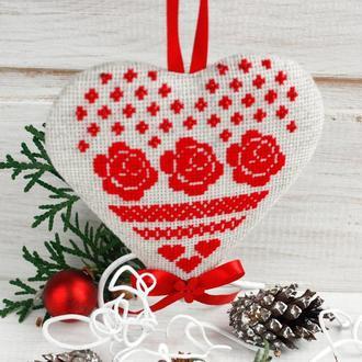 Красная елочная игрушка Текстильное новогоднее украшение в стиле эко