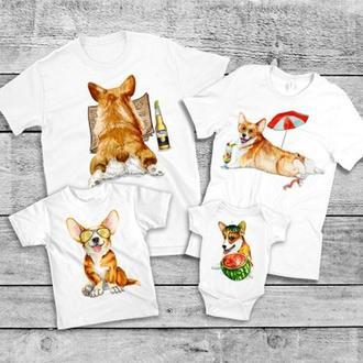 """ФП005700Футболки Фэмили Лук Family Look для всей семьи """"Собаки на отдыхе"""" Push IT"""