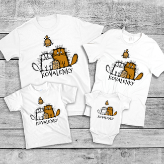 "ФП005701Футболки Фэмили Лук Family Look для всей семьи ""Коты: Коваленки"" Push IT"