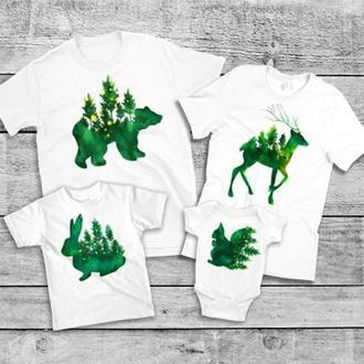 "ФП005715Футболки Фэмили Лук Family Look для всей семьи ""green animals"" Push IT"