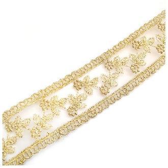 Лента-органза золотистая с вышивкой полиэстер, 3,3 см