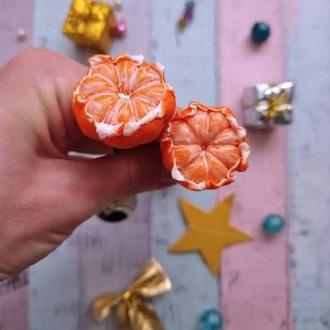 Ложка с декором мандарины из полимерной глины