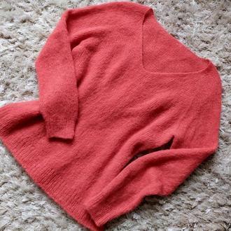 Пуловер коралловый из альпаки на шелке