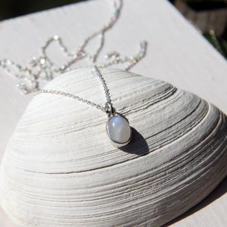 Серебряный кулон с лунным камнем Овал, подвеска с лунным камнем, ювелирный кулон