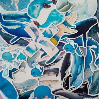 """Наклейки """"Whales / Киты"""" (Набор 32 шт.)"""