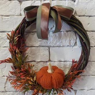 Осенний венок с тыквой