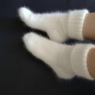 Вязаные пушистые женские носки ангора кролик