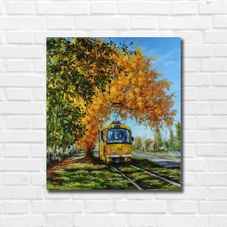 """Картина маслом """"Осень в городе"""" 45х40 см, холст на подрамнике, масло"""