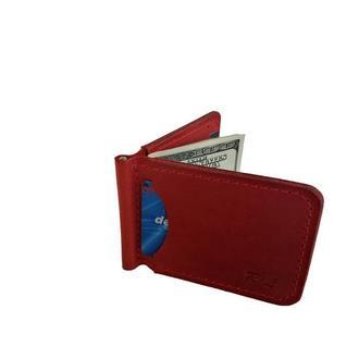 Красный кожаный кошелек с зажимом хд7 (10 цветов)