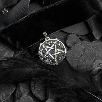 Стальной кулон звезда Йеннифэр на бархотной ленте (2 шт.)