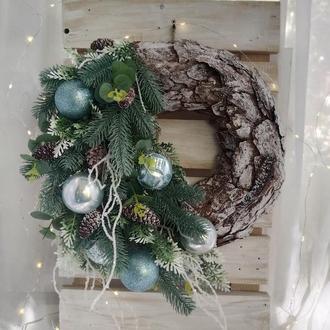 Новогодний венок, Рождественский венок, зимний венок, хвойный венок, венок на новый год