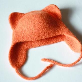 Шерстяная детская шапка кошка