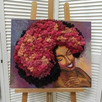 Картина - портрет жінки маслом та стабілізованим мохом