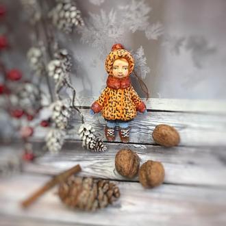 Ватная ёлочная игрушка , куколка-подвеска
