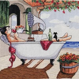 Картина вышитая крестом ′In Bath - Good Wine′