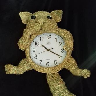 Часы с котом на стену декор из природного материала подарок в эко стиле