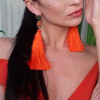 """Шелковые серьги-кисти """"Солнце Парижа"""" оранжевые / Серьги позолота"""