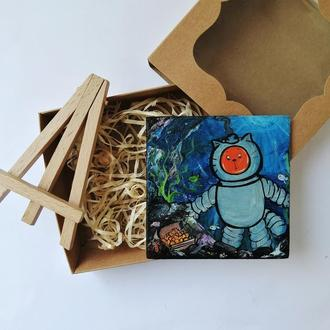Миниатюра маслом кот-подводник, Обитатели океана, Прикольные магниты, Сувенир на подарок