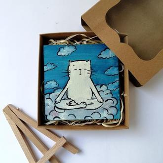 Миниатюра маслом кот на облаке, Небо и тучи, Прикольные картины, Оригинальные магниты, Картина кота