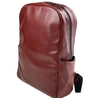 Рюкзак женский городской для ноутбука из экокожи бордовый