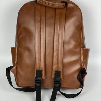 Рюкзак женский городской для ноутбука из экокожи коричневый