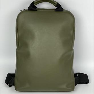 Рюкзак женский городской для ноутбука из экокожи хаки