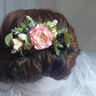 Свадебный веночек с эвкалиптом Гребень для волос Свадебная прическа
