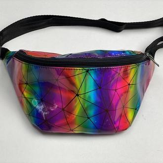 Поясная сумка женская городская из экокожи разноцветная