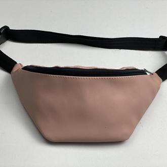 Поясная сумка женская городская из экокожи розовая