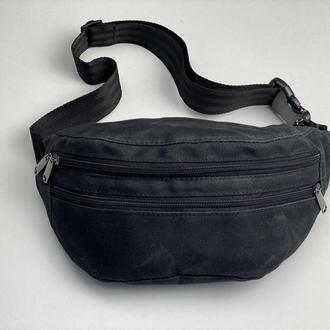 Поясная сумка мужская большая текстильная городская черная