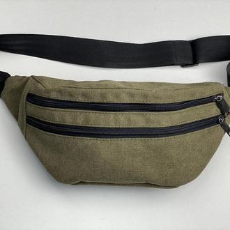 Поясная сумка мужская большая текстильная городская хаки