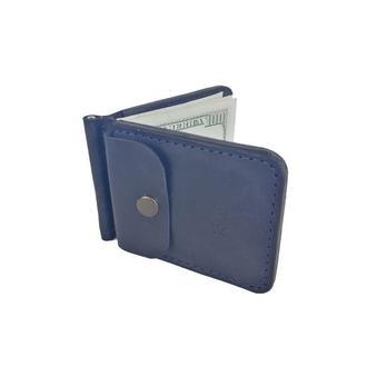 Кожаный синий кошелек с зажимом хк7 (10 цветов)