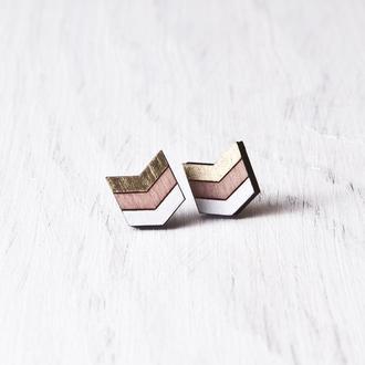 Розово золотые сережки купить Киев, Деревянные сережки гвоздики