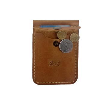 Кожаный жёлтый кошелек с зажимом хк7 (10 цветов)