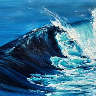 Картина маслом на холсте. Морская волна, море, океан
