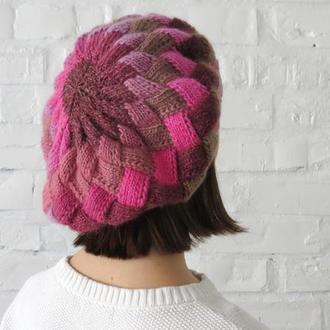 Розовый берет шерстяной вязаный, стильная шапка для девушки женщины, подарок маме свекрови