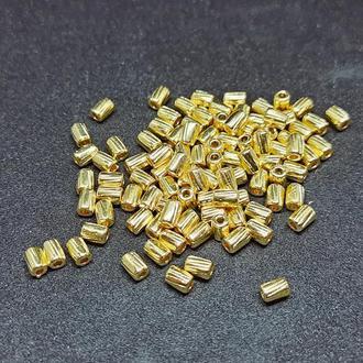 Бусины золото колонка овальные