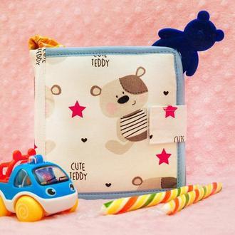 Мягкие книжки для детей до года, Книга из ткани Handmade, 10 страниц