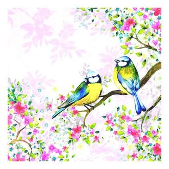 Салфетка Синички на цветущих ветках 2-6180