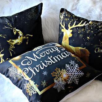 Стильные новогодние подушки для уюта дома, 45х45 см. Декоративные подушки
