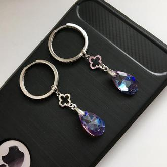 Стильные серебряные серьги-трансформеры с оригинальными кристаллами Swarovski