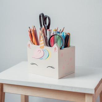 Деревянная подставка под ручки/карандаши Единорог, WoodAsFun, карандашница, органайзер