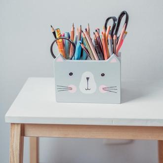 Деревянная подставка под ручки/карандаши Котик, WoodAsFun, карандашница, органайзер