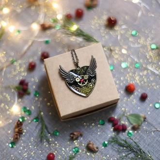 Стимпанк кулон сердце с крыльями
