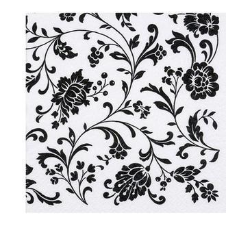 Салфетка Цветочные орнамент черно-белый 7261