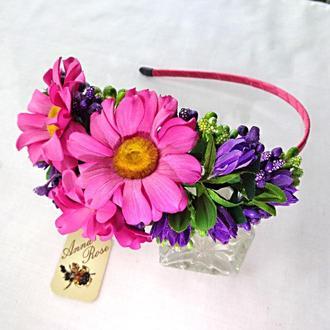 """Обруч для волос с розовыми цветами из фома  """"Ромашки"""""""